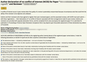 An example author-submitted No Conflict of Interest (NCOI).
