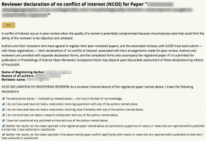 An example reviewer-submitted No Conflict of Interest (NCOI).