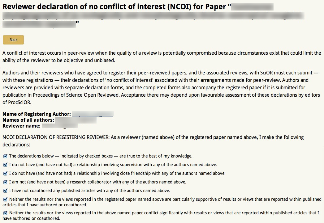 Science open reviewed for Conflict of interest declaration template